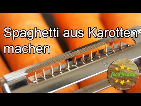 Karotten-Spaghetti mit dem Julienne Schneider zubereiten