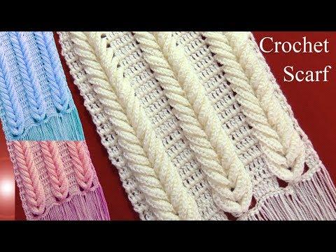 Bufanda chalina en punto espigas de trigo en relieve tejido a crochet  tallermanualperu 63f7af54860