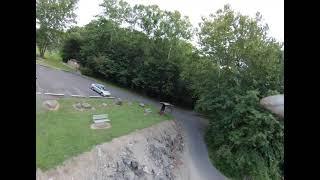 DJI FPV drone at crooked creek spillway