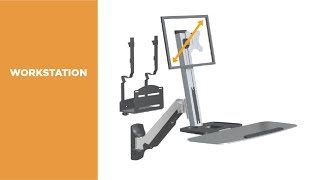 DWS02-W01 Single Display Sit-Stand Workstation Wall Mount Features Video