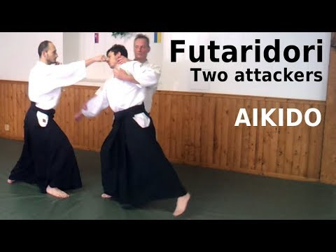 Aikido techniques against two attackers, FUTARIDORI (ninindori), by Stefan Stenudd