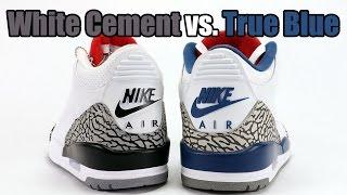 True Blue vs White Cement Nike Air Jordan 3 Comparison