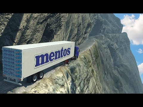 Trucks & Cars Driving on World's Most Dangerous Roads - BeamNG.drive