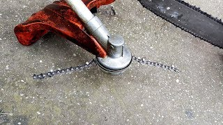 Homemade Chain for TRIMMER?  !!!!!   JUST EXPERIMENT   !!!!! + TEST