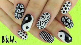 Nail Art in Black and White! Monochrome Nails with MissJenFabulous