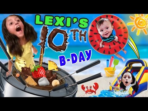 Lexi's 10th Birthday Party! FONDUE POOL CELEBRATION (FUNnel Vision Vlog w/ Presents Haul)
