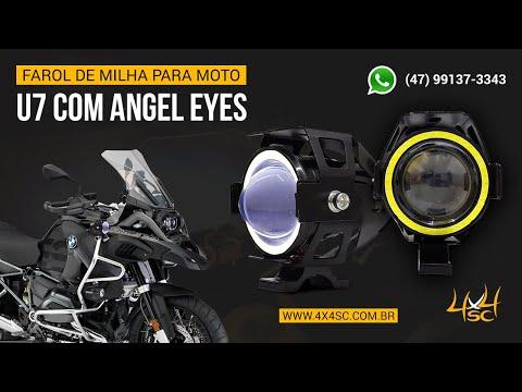 fb13139348 Farol para Moto Milha Auxiliar com Angel Eyes - U7