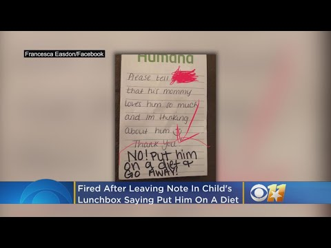 Texas Daycare Worker Fired After Leaving Note In Child's Lunchbox That Read 'Put Him On A Diet'