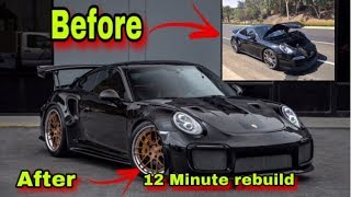 REBUILDING A WRECKED PORSCHE TURBO S X GT2RS IN 12 MINUTES INCREDIBLE CAR BUILD TRANSFORMATION