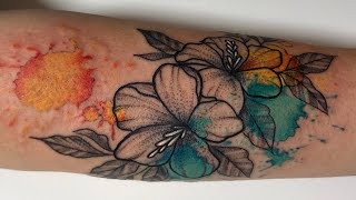 Watercolor Flower - Tattoo Time Lapse