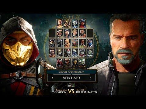 Mortal Kombat 11 Terminator T-800 Gameplay Vs Scorpion Very Hard Difficulty MK11