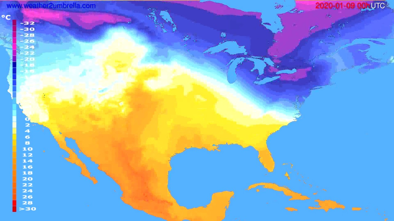 Temperature forecast USA & Canada // modelrun: 00h UTC 2020-01-08