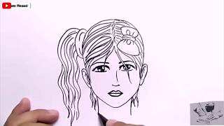 Kara Kalem Güzel Kız Resim Çizmek