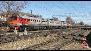 3М62У-0059 с составом из полувагонов // резкое торможение поезда (с 00:50)