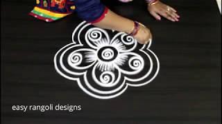 How to draw a simple flower  kolam  ||  beautiful rangoli  designs ||  cute muggulu