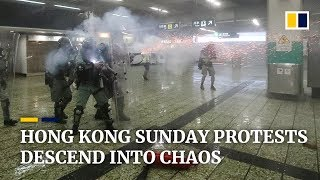 Hong Kong Sunday protests descend into chaos