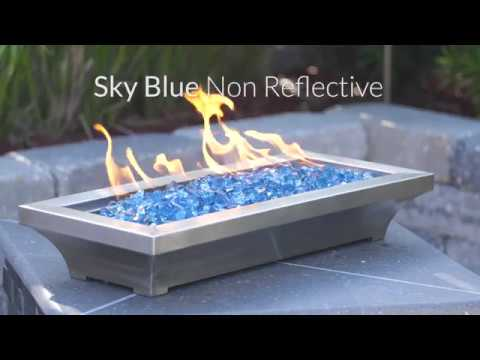 Sky Blue Non-Reflective Fire Glass | Lakeview Outdoor Deigns