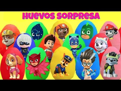 15 Sorpresas en Huevos de Plastilina Play Doh de Paw Patrol y PJ Mask con Fizzy y Phoebe