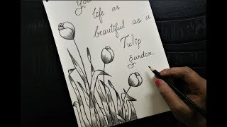 How To Make Greeting Card With Pencil Sketch |version 3 Tulips
