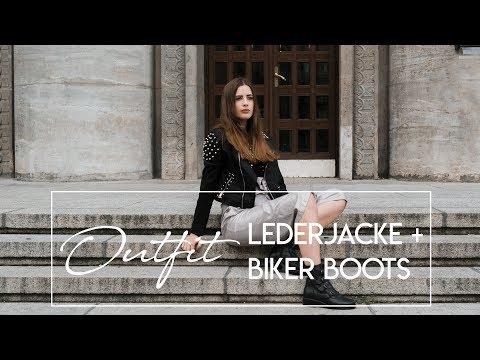OUTFIT: Lederjacke mit Nieten und Biker Boots / andysparkles