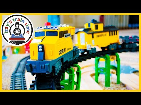 HUGE CAT CONSTRUCTION TRAIN! Fun Toy Trains for Kids