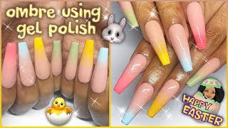 How To: Ombre W Gel Polish | Pastel Easter Press On Nail Design