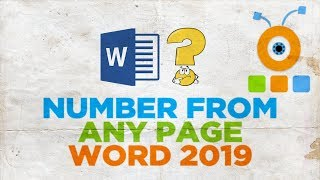 How to Number from Any Page in Word 2019