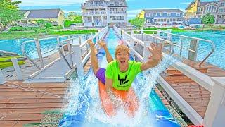 Transformed My Backyard into a Real Life Waterpark!!   Stephen Sharer Rocket Slide!!