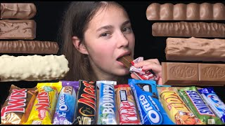 ASMR CHOCOLATE CANDY BARS Eating Sounds (OREO, SNICKERS, KITKAT, TWIX, MARS, LION, NUTS, MILKY WAY)