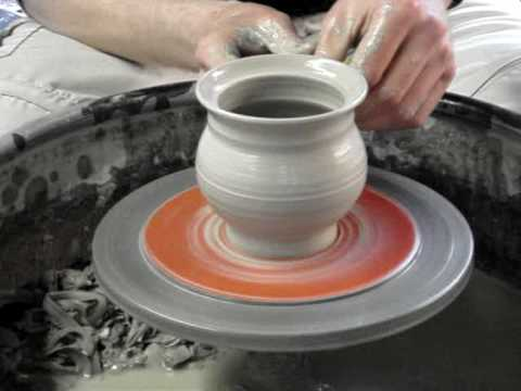 Making a clay pottery honey pot / mustard pot and lid on the wheel demo ingleton pottery  how to