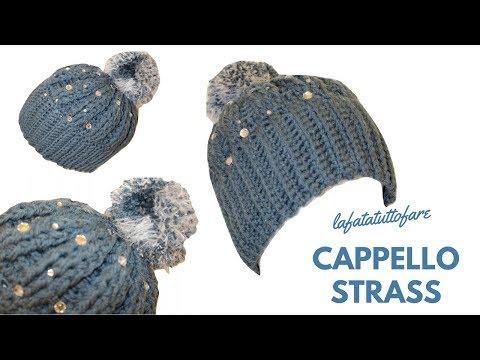 TUTORIAL: cappello con strass/ cappello uncinetto/ berretto***lafatatuttofare***