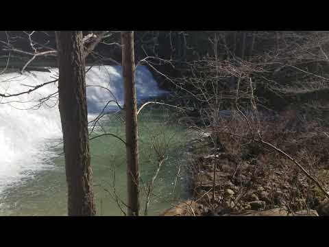 The falls are a short, easy hike from the campsites.