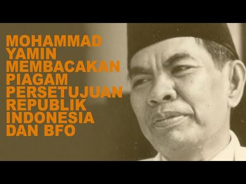 Mohammad Yamin Membacakan Piagam persetujuan Republik Indonesia dan Bijeenkomst voor Federaal Overleg (BFO)