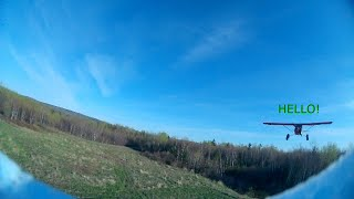 My FPV plane is so slow I can't catch a Cub, and then I got hit by a Maule!!
