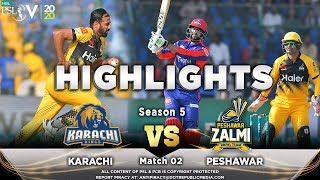 Karachi Kings vs Peshawar Zalmi | Full Match Highlights | Match 2 | 21 Feb 2020 | HBL PSL 2020