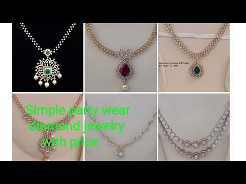 Simple party wear diamond jewellery # simple diamond necklace designs # affordable diamond jewellery
