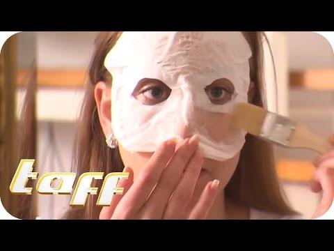 Bis zu und nach den Masken für den Haarwuchs