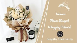 Flower Bouquet Wrapping Tutorial (Unicorn With Roses Bouquet Design) || Wrapping Ideas & Technique