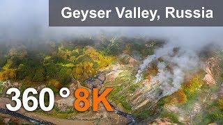 Valley of Geysers, Kamchatka, 8K aerial 360 video