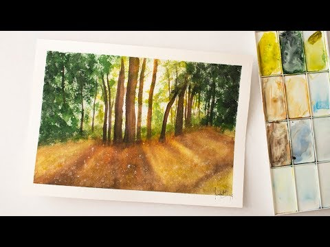 Forest painting in watercolors - wood painting demonstration with text - easy for beginners
