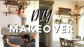 DIY Dining Room Makeover On A Budget // Decorating Ideas // Antique Farmhouse Dining Room Makeover