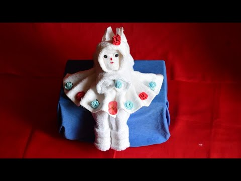 how  to make doll | towel art | origami | towel Design | towel girl