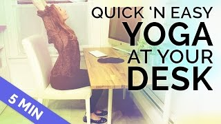 Quick Yoga at Your Desk | Seated Yoga | Chair Yoga to Stretch You Out (5 min) by BrettLarkinYoga