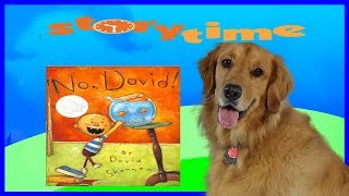 DOG READS BOOK NO DAVID BY DAVID SHANNON.  ADULT READING Humor.