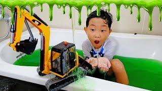 Slime Bath Surprise Car Toy Video for Kids Power Wheels Excavator Construction Vehicles for Children