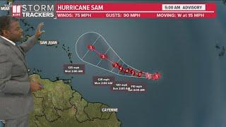 Hurricane Sam forecast, tracking model