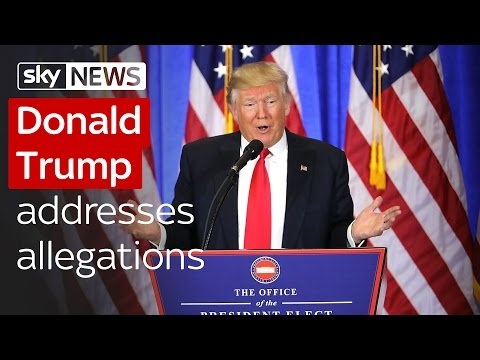 Donald Trump addresses Russia allegations at first news conference since election win