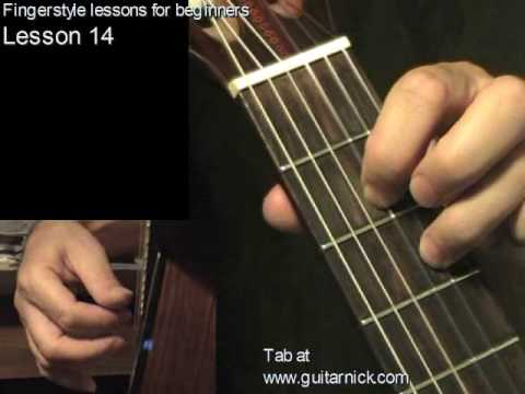 Fingerstyle guitar lesson 14 + TAB! learn to play acoustic guitar, easy for beginners