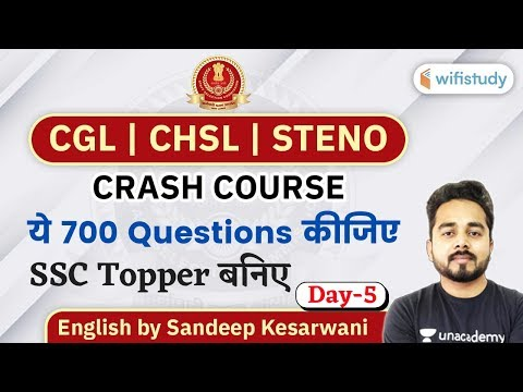 7:00 PM - SSC CGL, CHSL, Steno 2020 | English Crash Course by Sandeep Kesarwani | 700 Ques Series