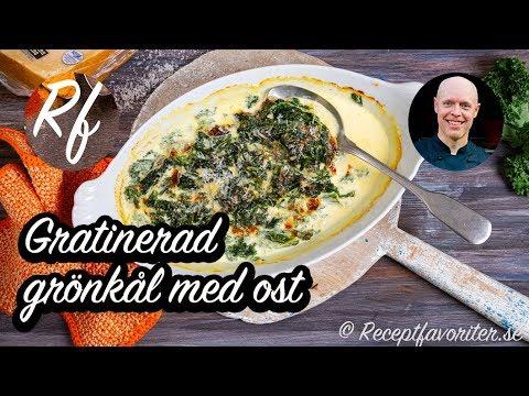 Gratinera strimlad blancherad grönkål med mozzarella-ost, parmesan och grädde. Får god smak av vitlök och schalottenlök. Ett grönsakstillbehör som även är sås.>
